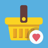 Vector Shopping Basket and Heart Shape Icon Favorite Goods Concept — 图库矢量图片