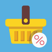 Vector Shopping Basket and Percent Sign Icon Sale Concept — Stock Vector