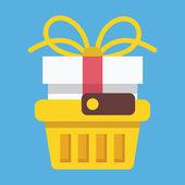 Vector Shopping Basket with Gift Box Icon — Stock Vector