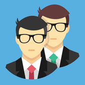 Vector Two Men Icon Teamwork Concept — Stock Vector