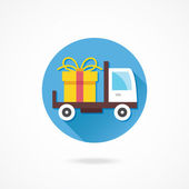 Delivery Truck and Gift Box — Stock Vector