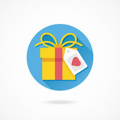 Gift Box and Label with Heart Shape — Wektor stockowy