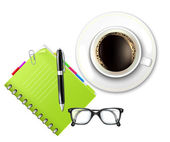 Coffee Cup and Notebook — Stock Vector