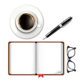 Open Book with Coffee Cup Pen and Glasses — Stock Vector