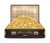 Open Suitcase with Gold Coins — Stock Vector