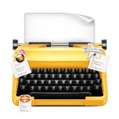 Typewriter With Stickers — Stock Vector