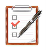 Vector Form with Pen and Checklist Icon — Stock Vector