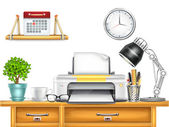 Workplace with Printer — Vector de stock
