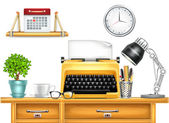 Workplace with Typewriter — Stockvector