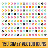 Set of 150 Colorful Icons for Mobile and Web — Stock Vector