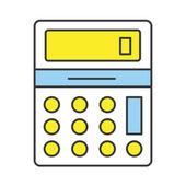 Vector Flat Line Design Concept Calculator Icon — Stock Vector