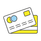 Vector Flat Line Design Concept Credit Card Icon — Stock Vector