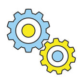 Vector Flat Line Design Concept Gears Icon — Stock Vector
