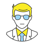 Vector Flat Line Design Concept Man in Business Suit Icon — Stock Vector