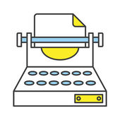 Vector Flat Line Design Concept Typewriter Icon — Vettoriale Stock