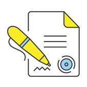 Vector Flat Line Design Concept Signing Document Icon — Stock Vector