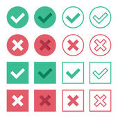 Vector Set of Flat Design Check Marks Icons — Stock Vector