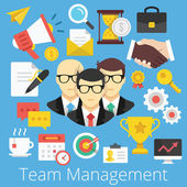 Vector set van platte ontwerp pictogrammen illustraties voor teammanagement — Stockvector