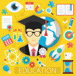 Vector Flat Design Icons Illustration Concept for Education or E-Learning — Stock Vector