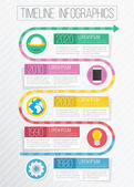 Vector Flat Timeline Infographics — Stock Vector