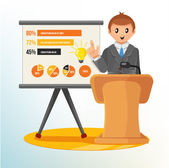 Businessman Making a Presentation. Vector Illustration — Stock Vector