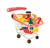 Vector Trolley Full of Delicious Food — Stock Vector