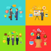 Vector Business Concept Icons Set of Partnership — Stock Vector