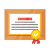Vector Certificate Flat Icon — Stock Vector