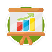 Vector Business Growing Graph Presentation Flat Round Icon — Stock Vector