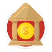 Vector Bank Flat Round Icon — Stock Vector