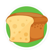 Vector Bread Flat Round Icon — Stock Vector