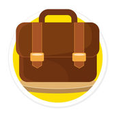 Vector Briefcase Flat Round Icon — Stock Vector