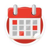Vector Calendar Flat Round Icon — Stock Vector