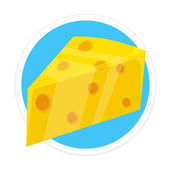 Vector Cheese Flat Round Icon — Stock Vector