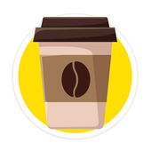 Vector Coffee Cup Flat Round Icon — Stock Vector
