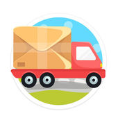 Vector Delivery Truck Round Icon — Stock Vector