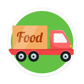 Vector Food Delivery Car Round Icon — Stock Vector