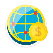 Vector Globe Flat Round Icon — Stock Vector