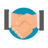 Vector Handshake Flat Round Icon — Stock Vector