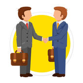 Vector Handshake Man Flat Round Icon — Stock Vector