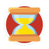 Vector Hourglass Flat Round Icon — Stock Vector