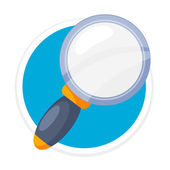 Vector Magnifier Flat Round Icon — Stock Vector