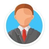 Vector Man Avatar Flat Round Icon — Stock Vector