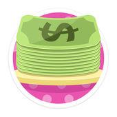 Vector dinero plana redonda icono — Vector de stock