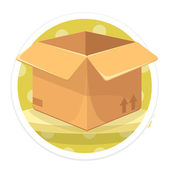 Vector Opened Carton Box Flat Round Icon — Stock Vector