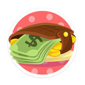 Vector Wallet and Money Flat Round Icon — Stock Vector