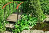 Little wooden bridge in a garden — Stock Photo