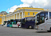 Buses in a street — Stock Photo