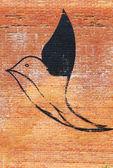 A seagull graffiti on the brick wall — Stock Photo