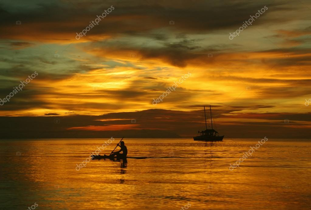 Sailing Boat Sunset Drawing Sailing Boat on The Sea a Man on a Beautiful Golden Sunset Photo by